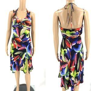 Cache Dress Green Floral Halter Silk A-line Sheath